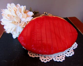 Vintage Red Eelskin Clutch Double Change Purse  Coin Purse