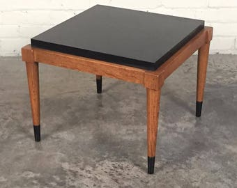 Lane Mid-Century Modern Walnut End / Side Table / Nightstand With Black Top - SHIPPING NOT INCLUDED