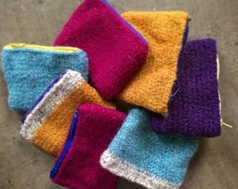Crochet Felted Wool Zippered Wallet/Coin Purse/Clutch Handbag