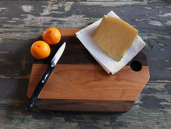 12 inch cutting board, cherry and walnut, small handmade cutting board