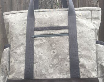 Teacher Bag, Leather Bottom Nurse Tote, Large Tote Bag with Pockets, Work Tote with Zipper, Diaper Bag, Professional Tote, Travel Tote