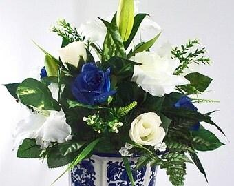 White Navy Blue Church Decorations Silk Flower Arrangement Floral Centerpieces Lily Roses Flowers Arrangements Altar Ceremony Wedding Easter