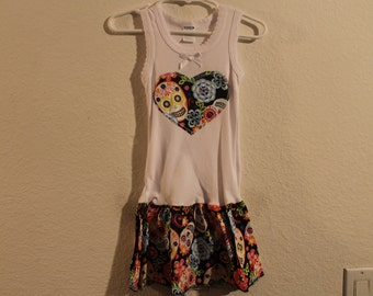 Little Girl Dress with ruffle - Sugar Skulls
