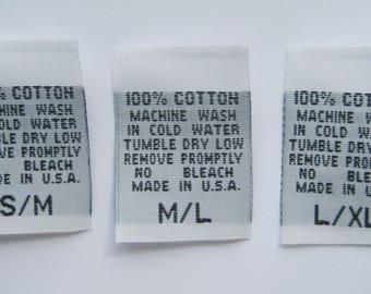 500 pcs White Woven Clothing Labels, Care Label - 100% COTTON - 2T, 3T, 4T