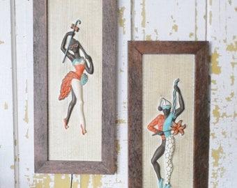 ON SALE Vintage Set of Two Dancers, Wall Hanging, Art, Mid Century Modern,Jester, Joker, Mod, Retro,Turquoise, Orange, Brown, Framed, Plasti