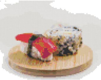 Sushi Cross Stitch Pattern, Digital Download PDF
