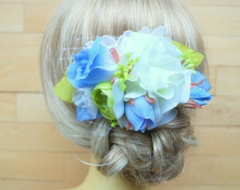 Serenity Blue Green White Rose Bridal Hair Comb, Bridal Flower Comb, Spring Weddings Accessories, Blue Green Bridal Hair Combt, Prom, Prop