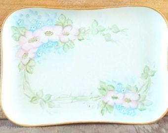 Limoges France T and V Tressemann and Vogt White Porcelain Dresser Tray Rectangular Porcelain Floral Hand Painted Pansies
