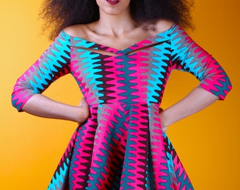 ZARIAH - African Ankara Wax Print Dress