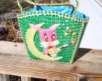 Easter Basket Bunny Purse Green Woven Straw