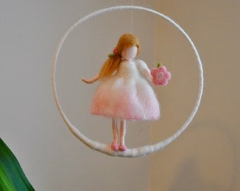 Wool Decoration/Nursery Mobile  / Wall Hanging  Birhtday Gift : Pink Fairy with flower