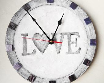Gray LOVE Wall Clock