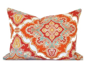 Indoor Outdoor Christmas Pillow Covers ANY SIZE Decorative Pillows Red Pillows P Kaufman Outdoor Zoie Tangerine