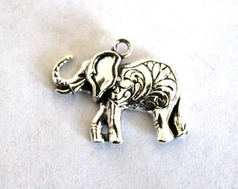 4 Silver Embossed Elephant Charms/Pendants
