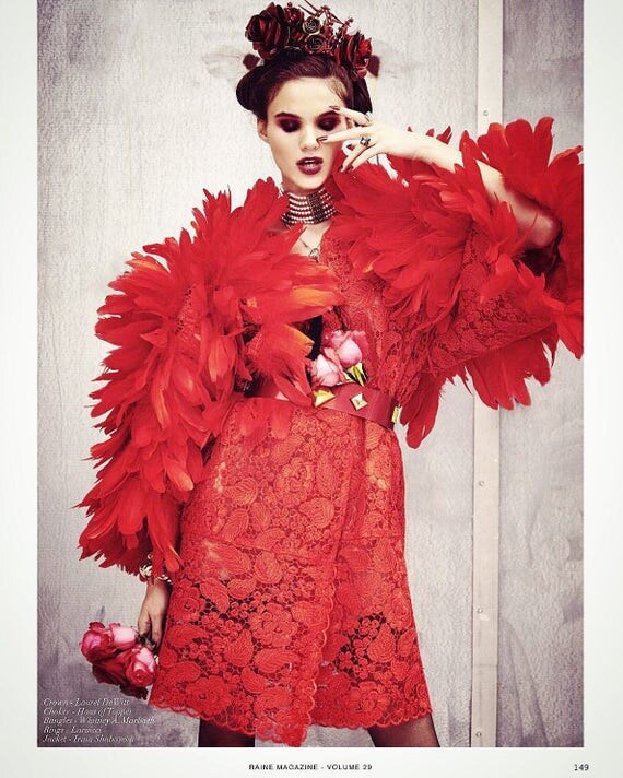 Irina Shabayeva Red Dahlia Lace/ Feather Coat .