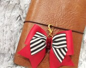 Red and striped bow charm