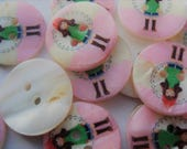 20mm Flat Round 2-Hole Freshwater Shell Buttons With Girl, Printing and Sewing Buttons Pack of 15 S02