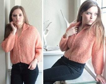 60s Fuzzy Knit SWEATER JACKET Vintage Wool MOHAIR Blend Zip Up Cardigan Crop Top Peach Pink Woman's Modern Medium Size Spring Sweater Jacket