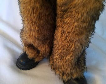 READY TO SHIP! Viking Wolf Brown with Black Tips Fluffies Leg Warmers