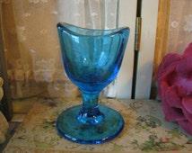 Antique Late Victorian Royal Cobalt Blue Glass Eye Wash Cup Eye Medicine Cup Victorian Curiosity Victorian Gothic Oddities Halloween Decor