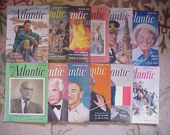 Full Year 1952 The Atlantic Monthly Magazines January - December published By Atlantic Monthly Boston, Antique Magazines with lots of Ads