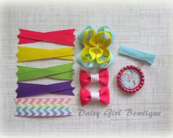 Hair Bow Making Kit - Make Your Own Bow - DIY Hair Bow - Hair Bow Craft Supplies - Make a Micro Mini Bow - Unicorn Bow Supplies.