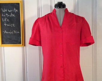 1980's Vintage Red Blouse