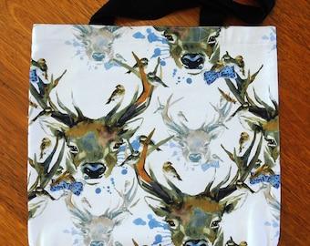 Deer Head Tote. Lined, pockets and shoulder straps. Shopper, Handbag.