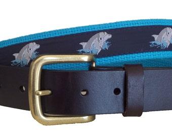 Dolphins Leather Belt / Leather Belt / Canvas Belt / Preppy Webbing Belt for Men, Women and Children/Dolphins on Navy
