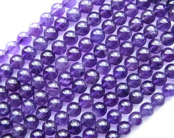AMETHYST BEADS 8mm Round  Grade A Drilled Genuine Quality Gemstone Purple 52 pc strand