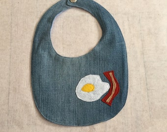 Upcycle Denim eggs and bacon breakfast bib with polka dot flannel reverse