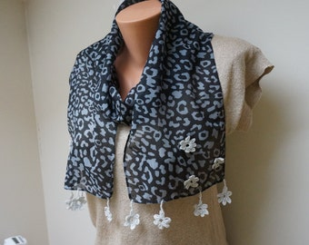 Animal monochrome Leopard print crochet flower scarflette shawl wrap scarf white grey black fringe embroidery ooak organza summer