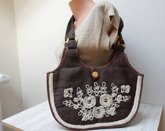 Brown linen sewn textile fabric bag handbag purse pouch ipad tablet case sleeve tote messenger flax floral rope embroidery wooden button