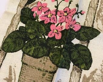 Vintage Kay Dee Linen  Tea Towel Flowers and Figures