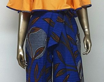 African Print Palazzo Pants. Inside Pockets. Sash Waistband. Wide Leg Pants. Womens. Handmade. PANTS ONLY