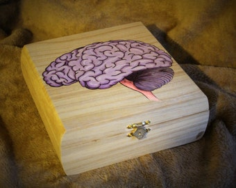Wood burned, painted Brain on a box
