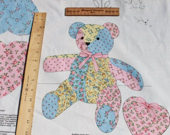 Vintage Cut and Sew Patchwork Teddy Bear,  Pink Blue Pillow Plush DIY Craft Fabric, Easy Kids Sewing Project