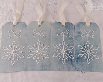 Christmas Gift Tags, Snowflake Tags, Winter Tags, Holiday Tags, Blue Tags - Set of 4