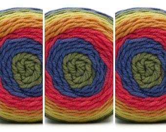 3 Bernat Pops Yarn Full Spectrum Self Striping Acrylic Yarn Color Gradient Yarn