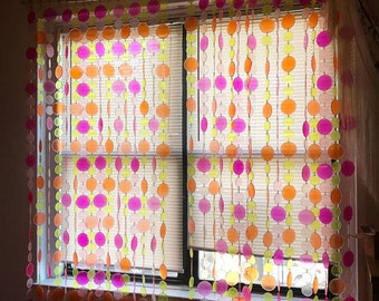 1960s/1970s Psychedelic Mod Neon Bead Curtain