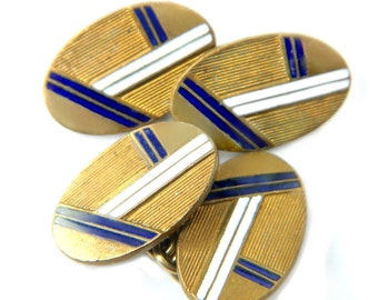 Art Deco Cufflinks Blue White Enamel Antique Brass 1910's French  Double Sided Chain Style Accessory Contemporary Art Deco Possible GF