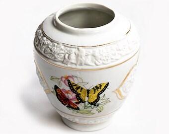 Vintage Italian Porcelain Vase,Flowers and Butterfly White Vase ,Vintage Floral Vase