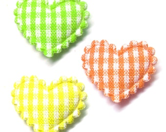 "100pcs x 3/4"" Assorted Gingham Cotton Heart Padded/Appliques Trim"