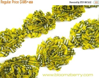 """Closed Out Sale 40% OFF Sale 2.5"""" PRINTED Shabby Rose Trim -Yellow Plaid Patterned- Chiffon Trim - Printed Shabby Trim - Hair Accessories  S"""