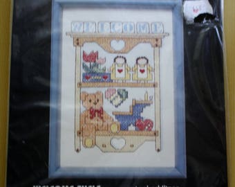 Dimension Kit/Stamped Cross Stitch/Size 7 by 5 Inches/ Embroidery Kit /Welcome Shelf /5 x 7 Frame Size