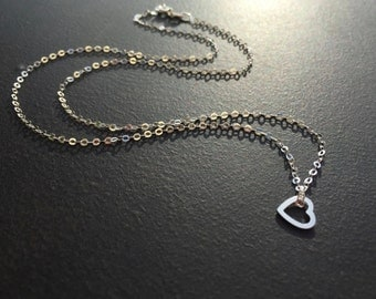 Silver Heart Necklace, Floating Heart, Sterling Silver Heart, Dainty Necklace, Minimalist Jewelry, Gift for Her, Gift Under 30  1266