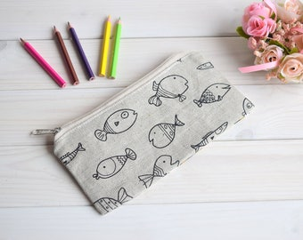 Pencil Case, Pencil Pouch, Make Up Bag, Small Bag, cute school supply, Zipper Pouch, Pouch, cute pencil case, organiser, gray pencil pouch