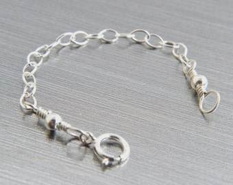 Sterling Silver Necklace Extender, Silver Extender, Smooth Cable Chain, Handmade, Custom Length