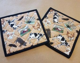 Farm Quilted Potholders, Set of 2, Cow, Eat Local, Chicken, Eggs, Pig, Tractor, Insulated Trivets, Feather, Gingham, Country Kitchen Decor