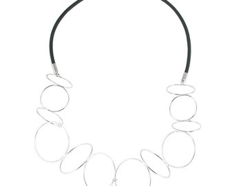 Kinetic Collar / Sculptural Jewelry / Modern Necklace / Rubber Cord / Chain Necklace / Silver Statement Necklace / Christmas under 200